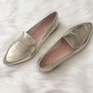 Kate Spade Crackled Metallic Leather Loafers sz 10